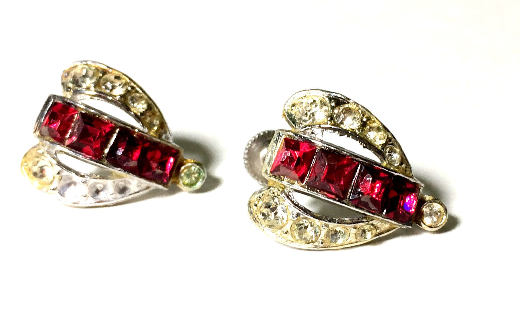 Vampy Red Rhinestone Clip Earrings circa 1950s