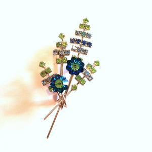 Charming Blue and Green Crystal Flower Brooch circa 1960s
