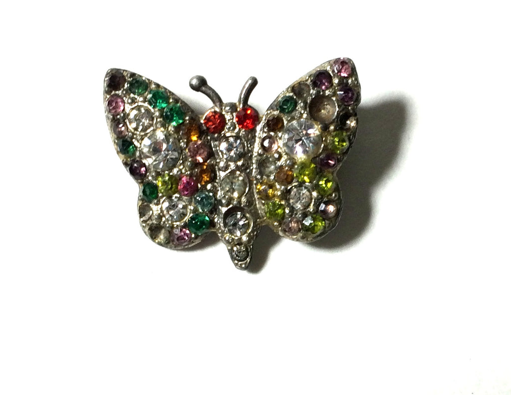Multicolored Rhinestone Studded Tiny Butterfly Pin circa 1940s