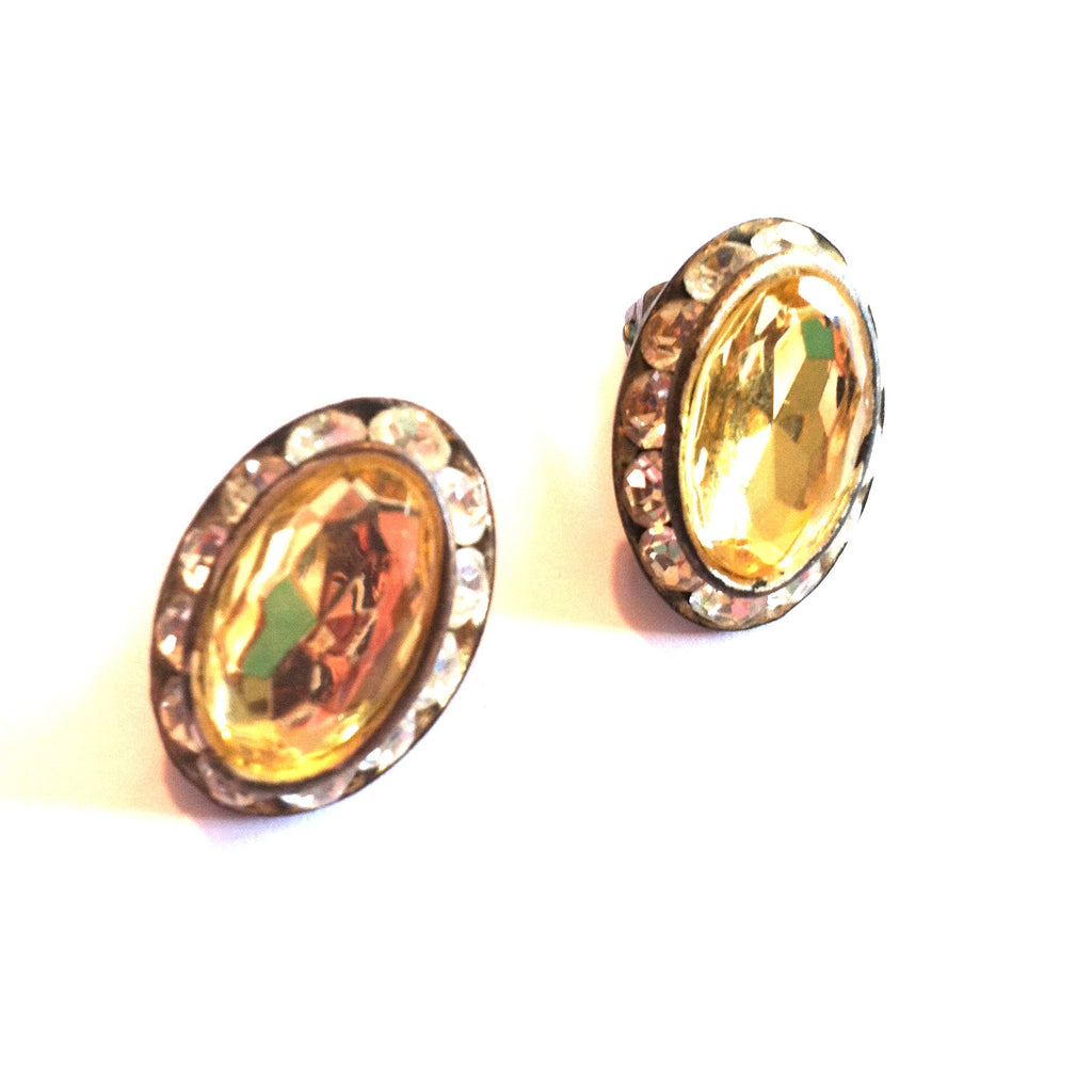 Sunshine Yellow Beveled Glass Clip Earrings w/ Rhinestones circa 1960s Dorothea's Closet Vintage Earrings