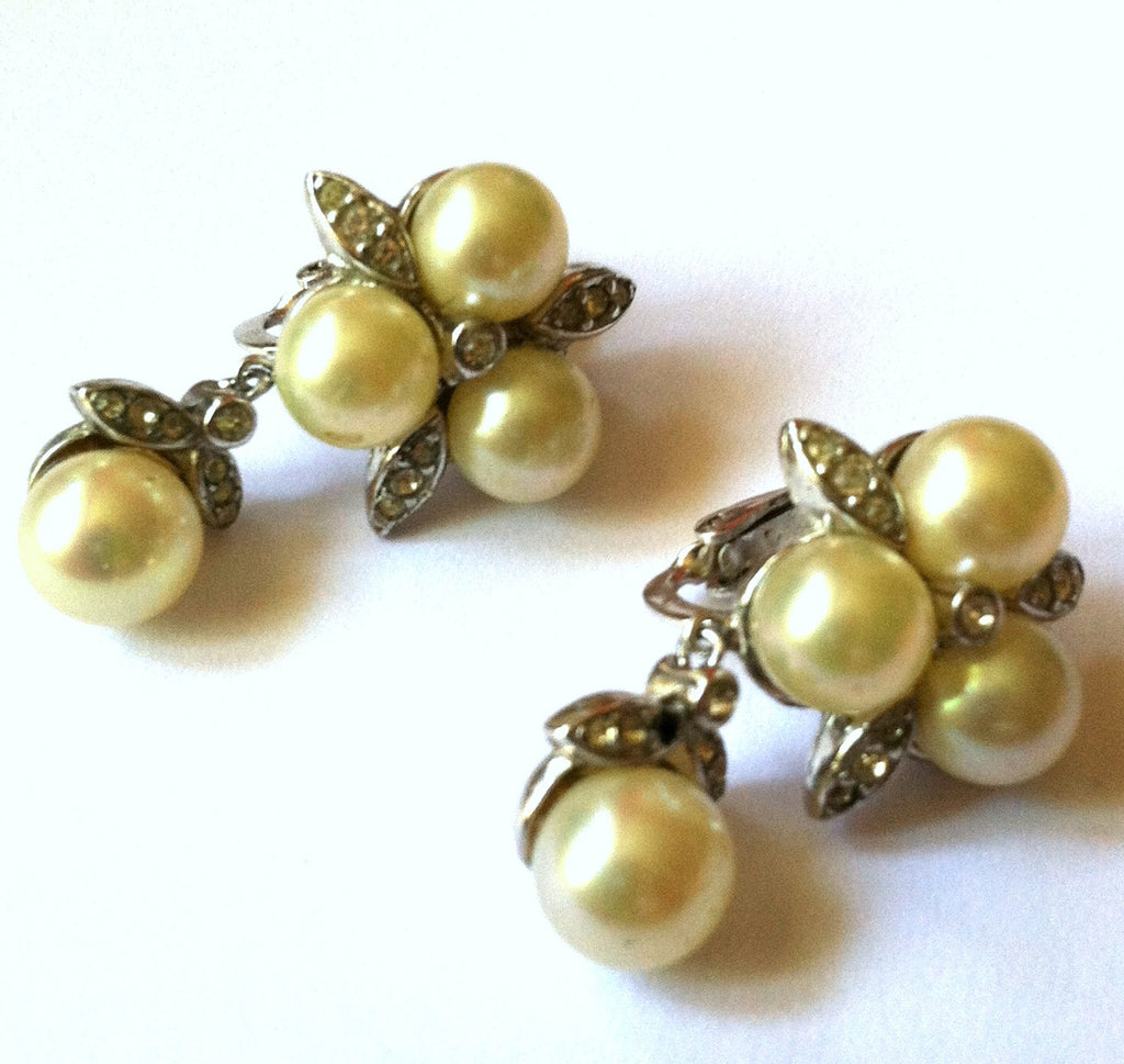 Leafy Silver and Rhinestone Faux Pearl Dangle Clip Earrings circa 1940s