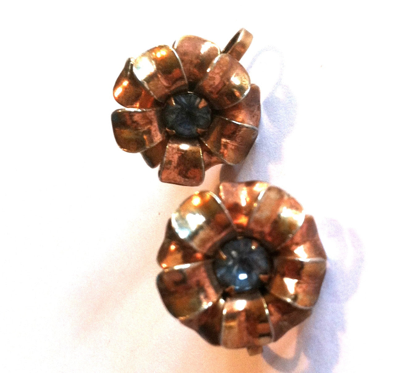 Baby Blue Rhinestone Center Rose Goldtone Flower Clip Earrings circa 1940s