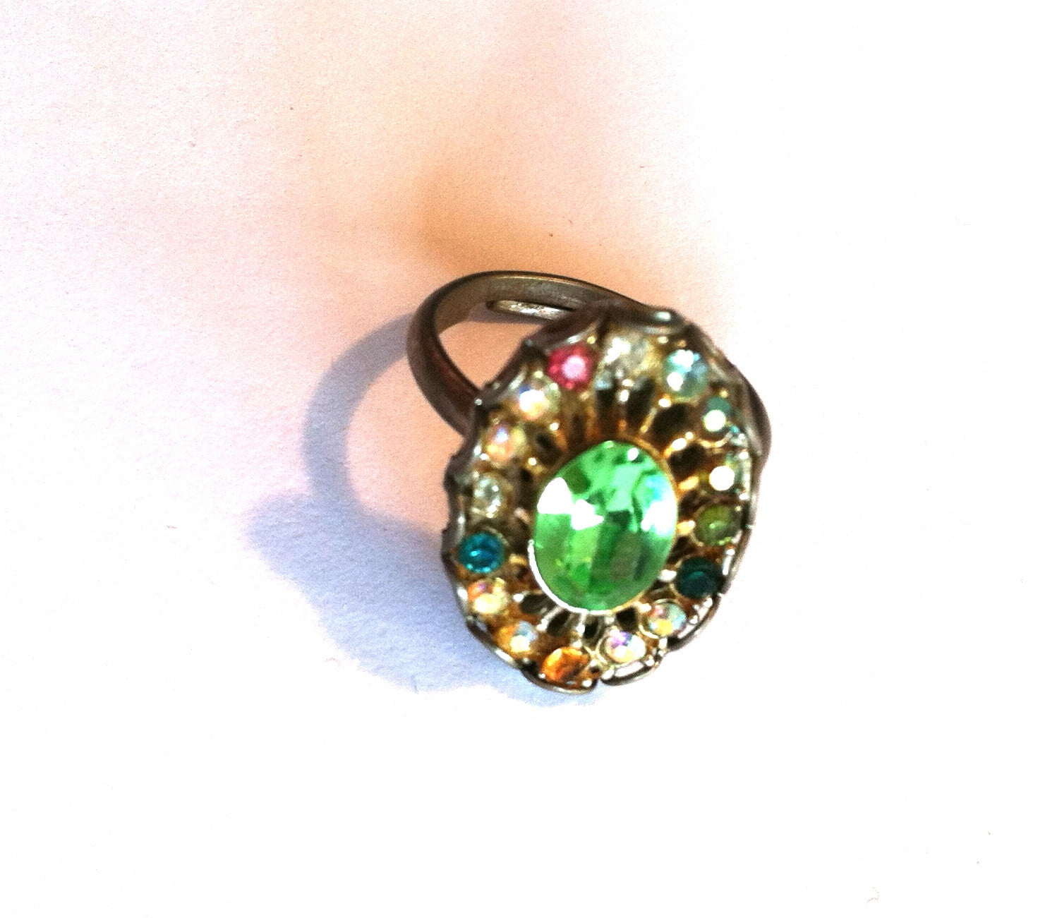 Citrine Green Beveled Glass Cocktail Ring w/ Pastel Rhinestones Adjustable circa 1950s