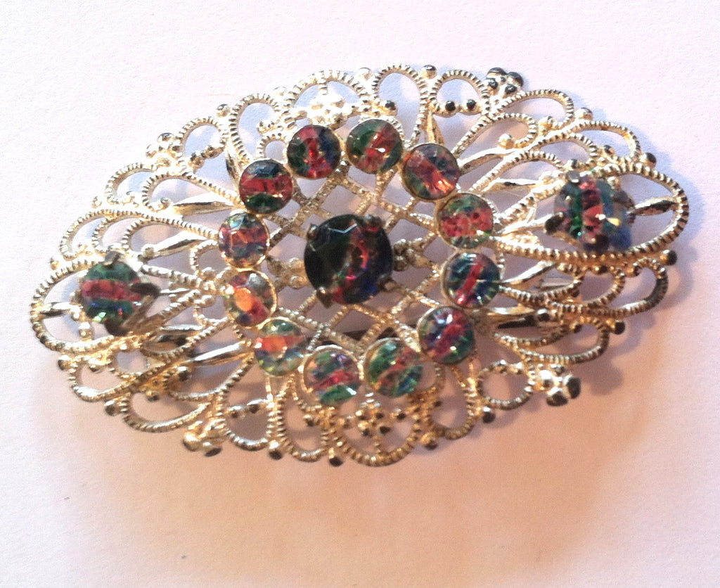 Filigree Silvertone Metal Brooch w/ Striated Crystals circa 1960s