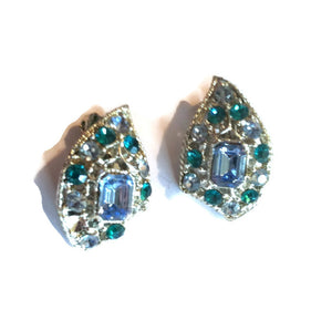 Aqua and Green Rhinestone Clip Earrings circa 1960s