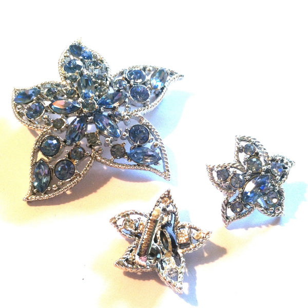 Star Fire Blue Rhinestone Brooch and Clip Earrings circa 1960s