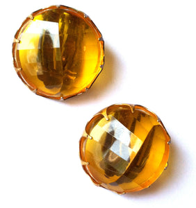 Amber Beveled Lucite Peaked Dome Large Clip Earrings circa 1950s