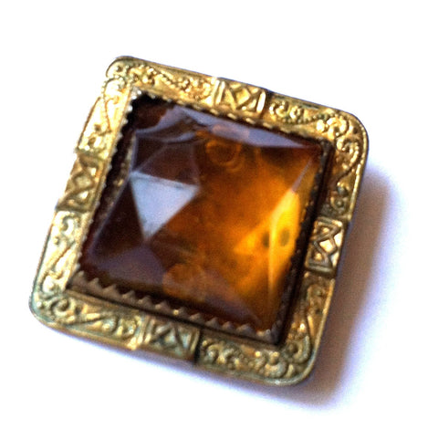 Deep Honey Colored Czech Glass and Gold Sash Pin circa Early 1900s