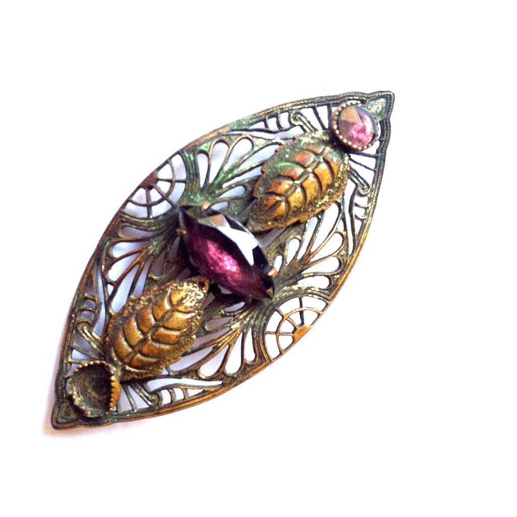 Lilac Glass Art Nouveau Leafy Metal Sash Pin circa