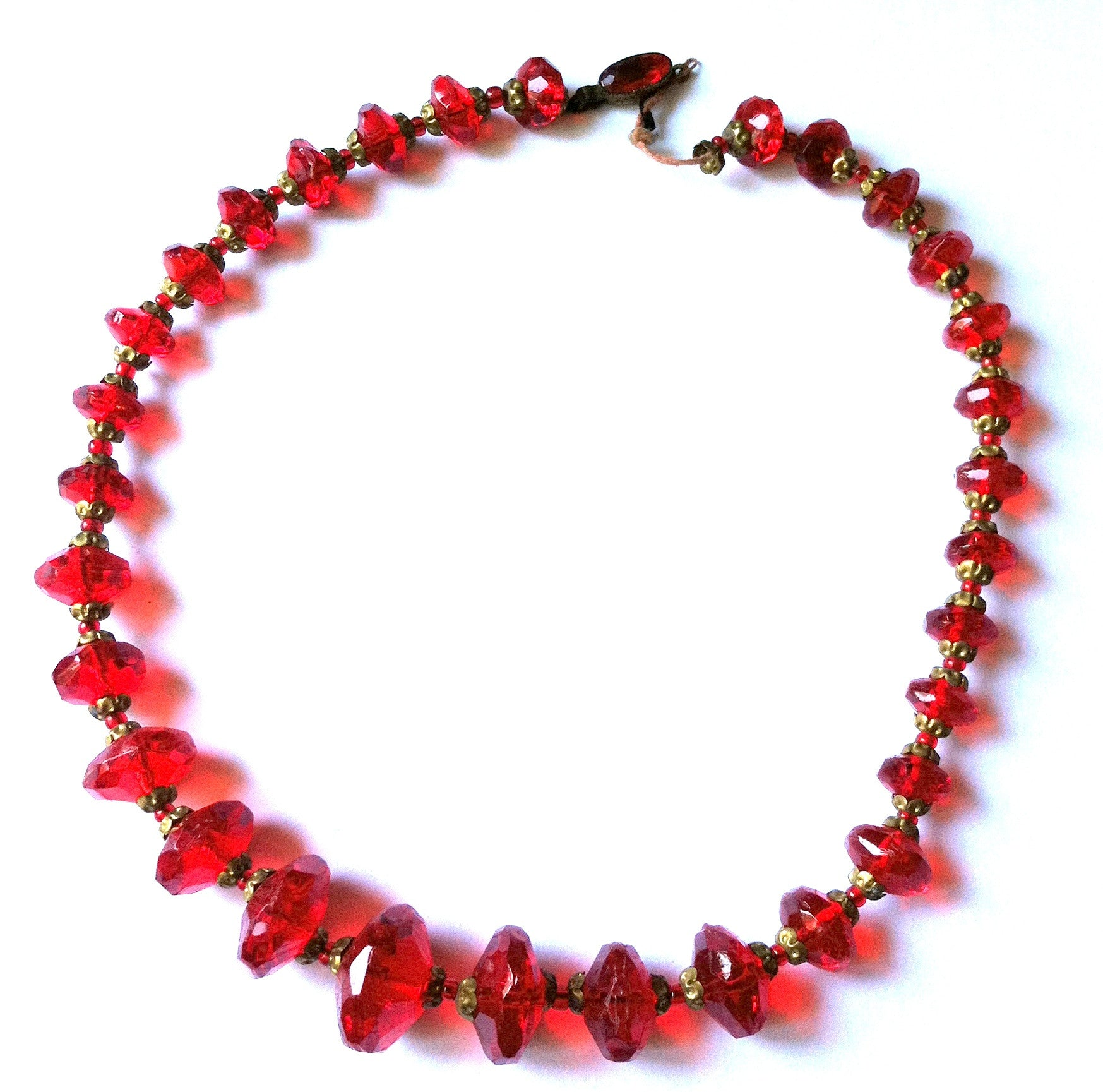 Brilliant Red Czech Glass Choker Necklace circa 1920s