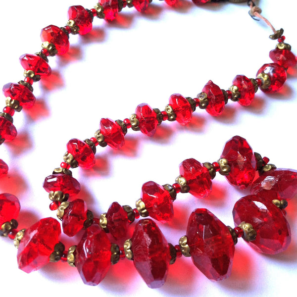 Lipstick Red Czech Glass Choker Necklace circa 1920s