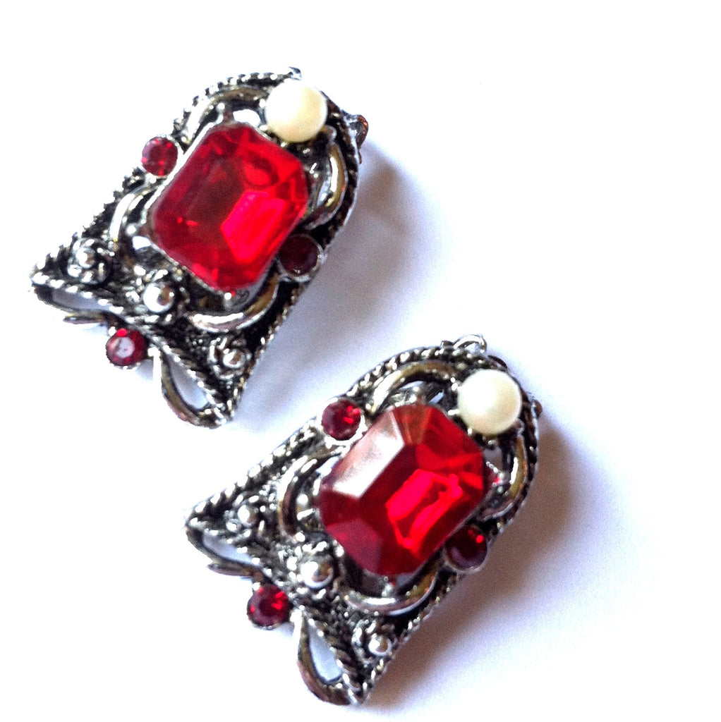 Ruby Red Rhinestone Glam Clip Earrings circa 1950s