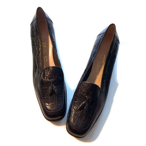 Faux Alligator Leather Tasseled Loafers circa 1970s Ferragamo 8N