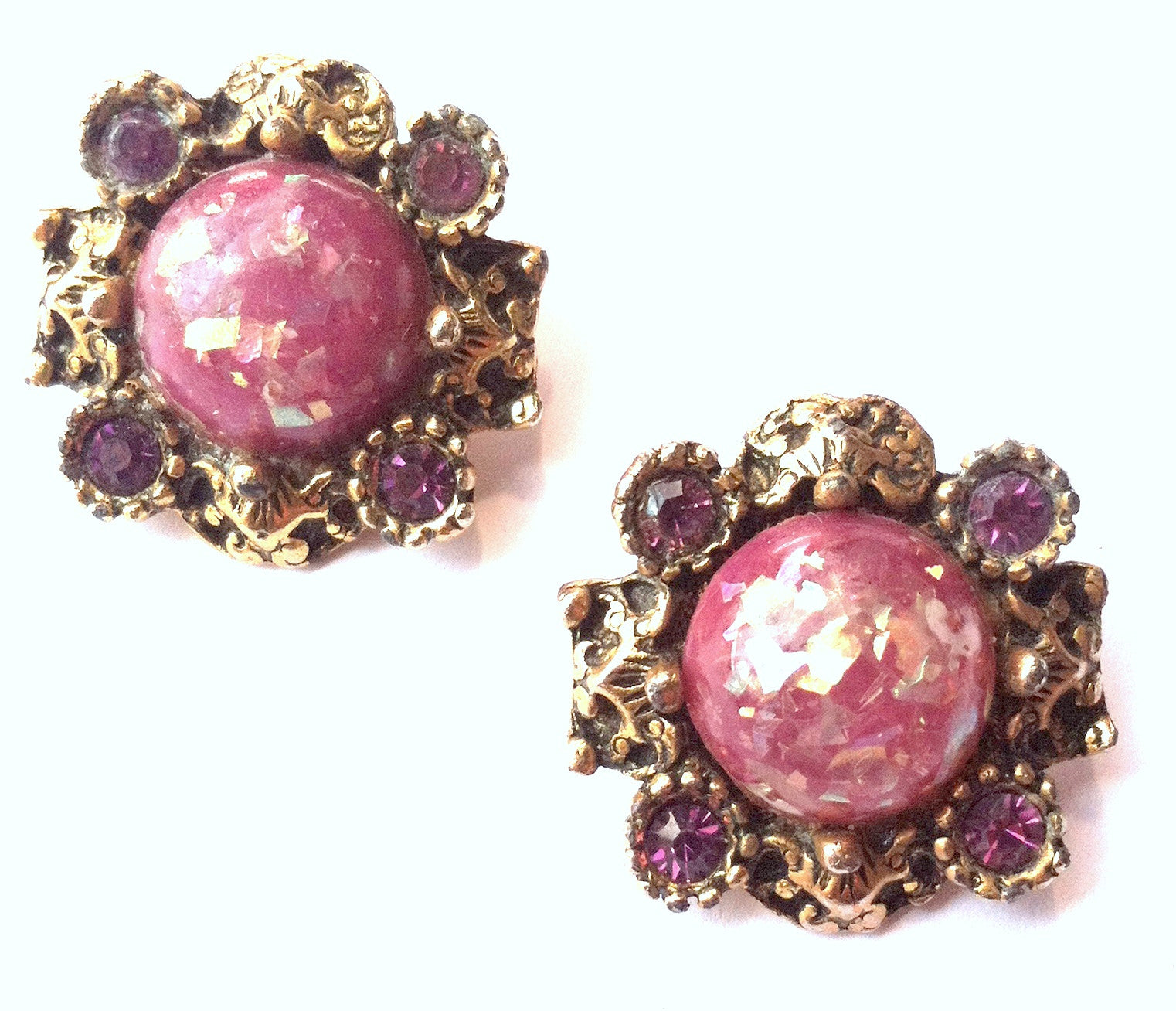 Glittery Rosy Violet Cabochon Clip Earrings circa 1940s