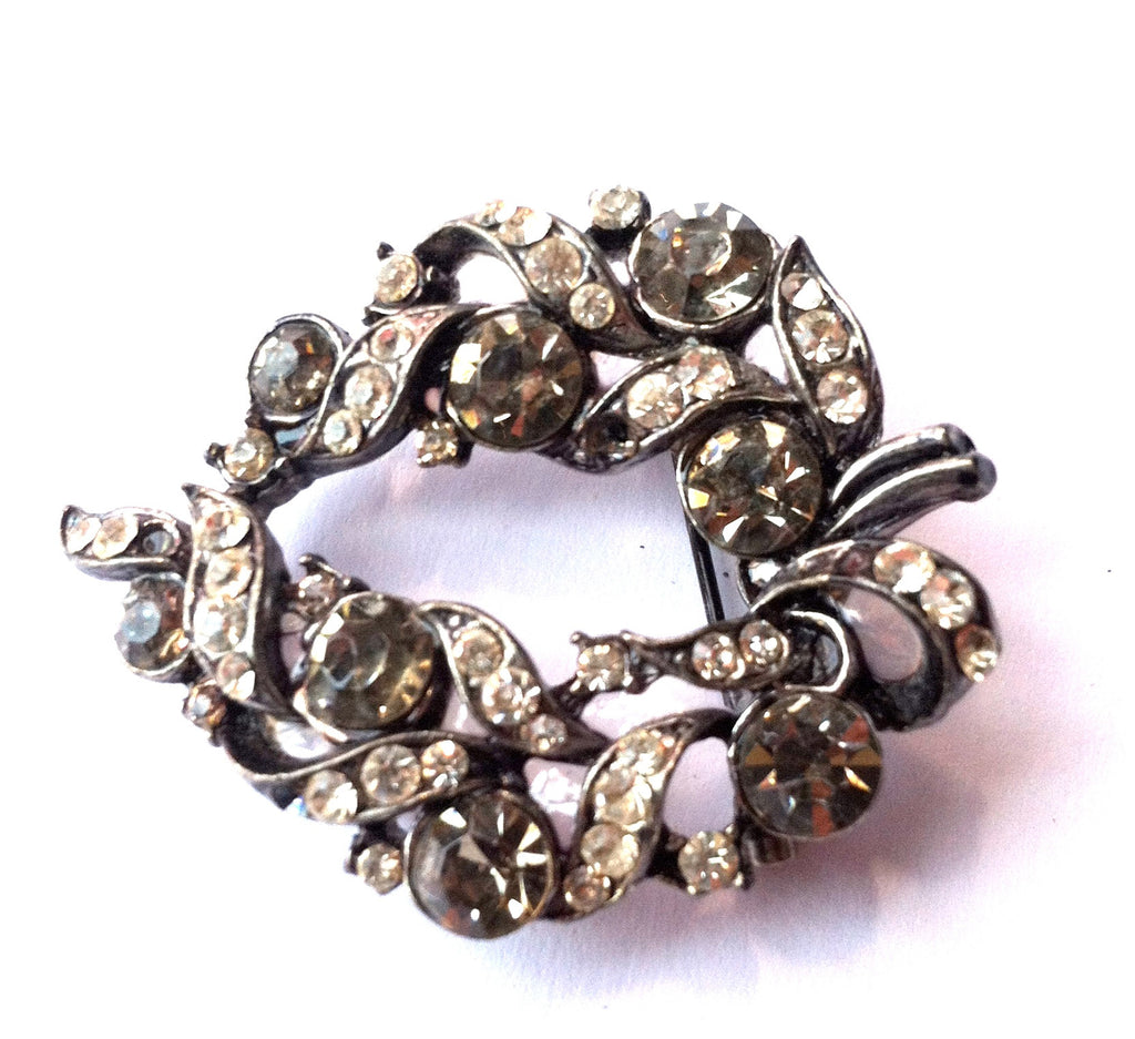 Smokey Grey and Clear Rhinestone Statement Brooch circa 1960s