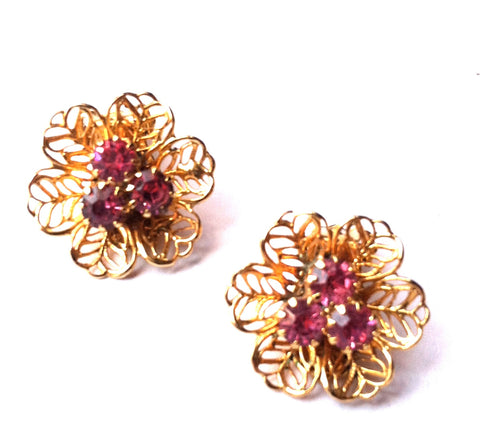 $15 for 2015 Filigree Goldtone Metal Flower Earrings w/ Pink Rhinestones circa 1960s