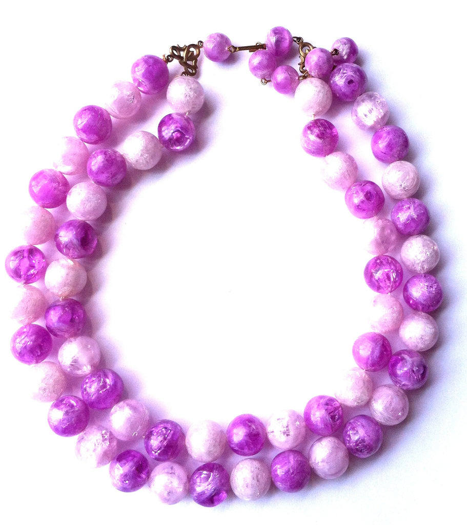 Bold Two Tone Purple Beaded Necklace circa 1960s