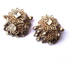Trembler Rhinestone Clip Earrings w/ Dangling Stones circa 1940s