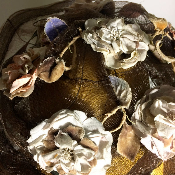 Sheer Buckram Bronze Hat With Silk Flowers & Ribbon circa Early 1900s