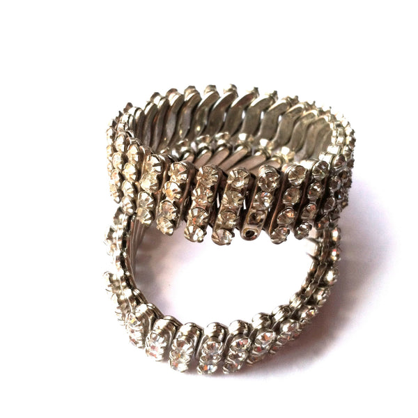 Twinkling Pair of Accordian Style Rhinestone Bracelets circa 1950s