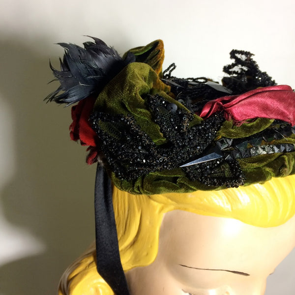 Green Velvet and Silk Beaded & Floral Topped Bonnet circa Late 1800s
