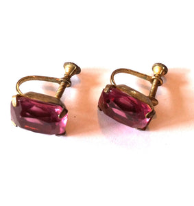 Amethyst Cut Crystal Screwback Clip Earrings circa 1930s Dorothea's Closet Vintage Jewelry