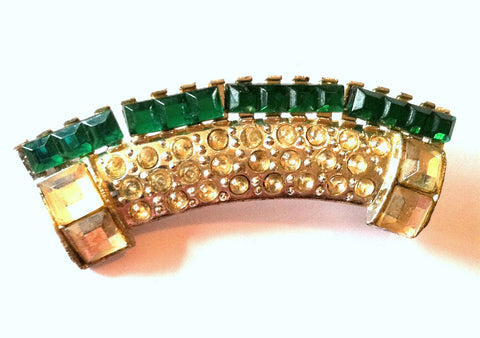 Deep Emerald Green Art Deco Rhinestone Pin circa 1930s