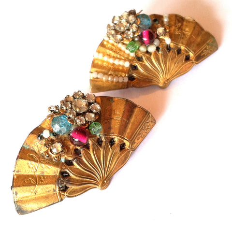 Darling Gold Filled Pastel Beaded Fan Pin Set w/ Rhinestones circa 1920s