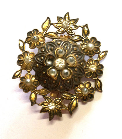 Diminutive Victorian Revival Rhinestone and Faux Pearl Sash Pin circa 1940s