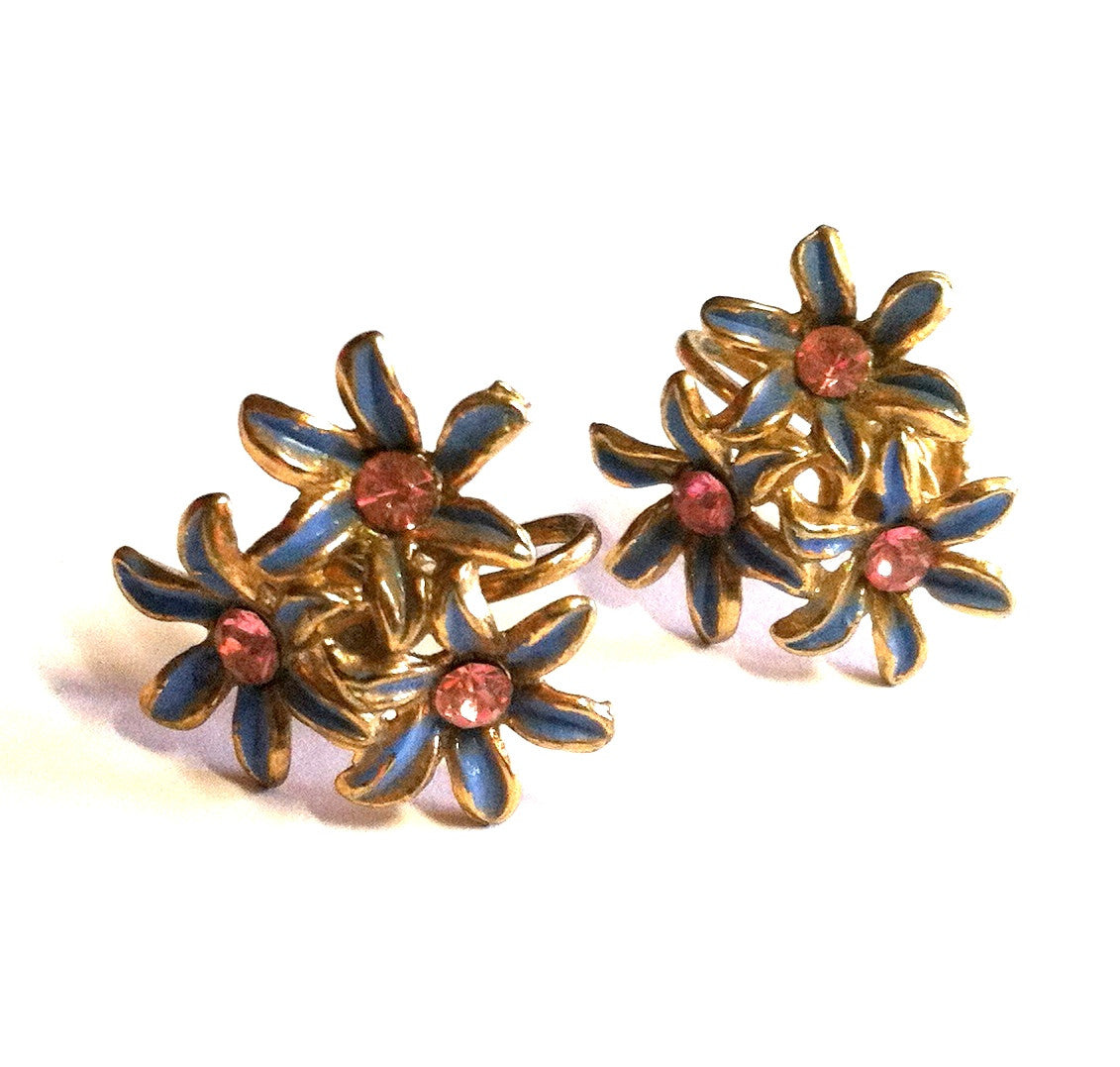 Sweet Pink Rhinestone Blue Enameled Flower Screwback Clip Earrings circa 1950s Dorothea's Closet Vintage Jewelry