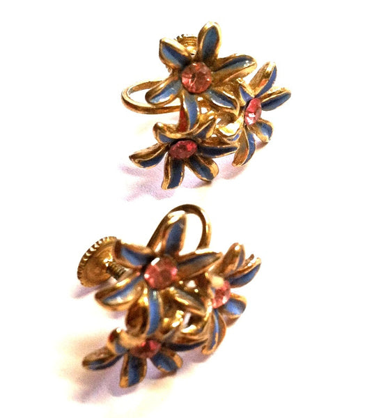 Sweet Pink Rhinestone Blue Enameled Flower Screwback Clip Earrings circa 1950s