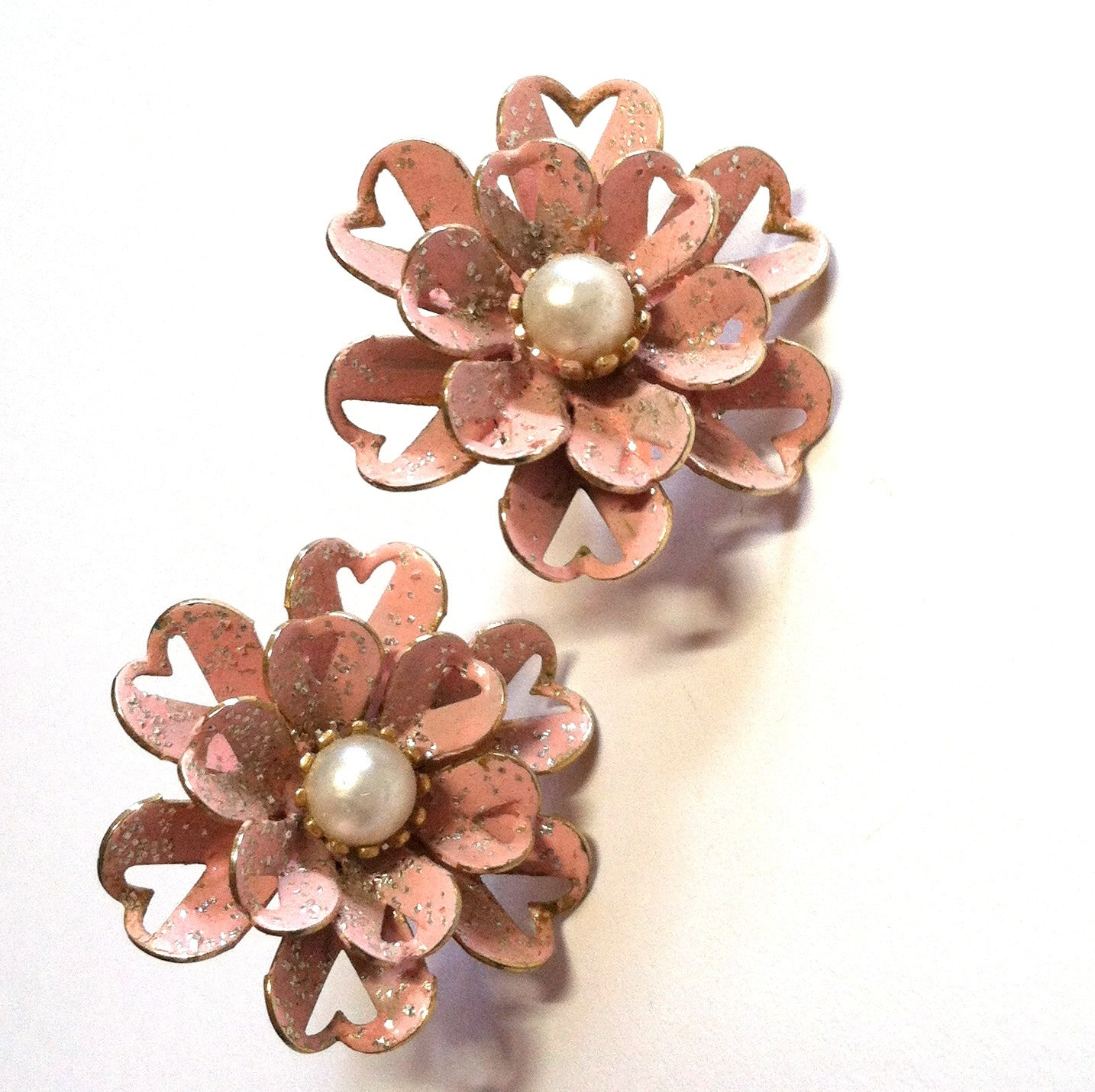 Pink Hearts! Glittery Pink Flower Earrings w/ Heart Cutouts circa 1960s