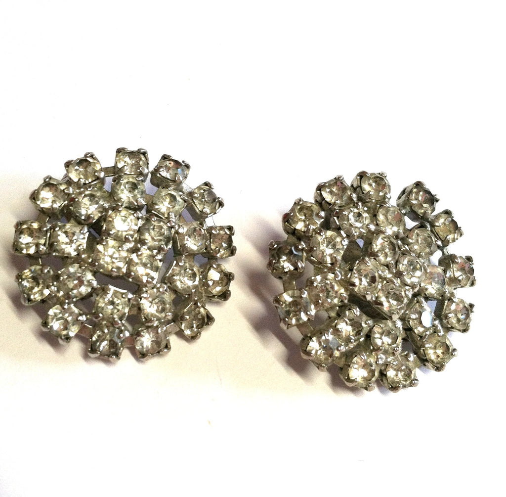 Movie Star Glam Sparkling Rhinestone Clip Earrings circa 1950s Dorothea's Closet Vintage Jewelry