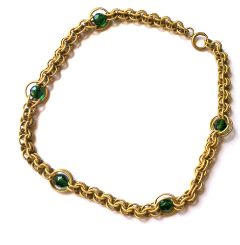 Emerald Green Cut Glass Beads & Etched Gold Loop Chain Necklace circa 1930s Dorothea's Closet Vintage Jewelry