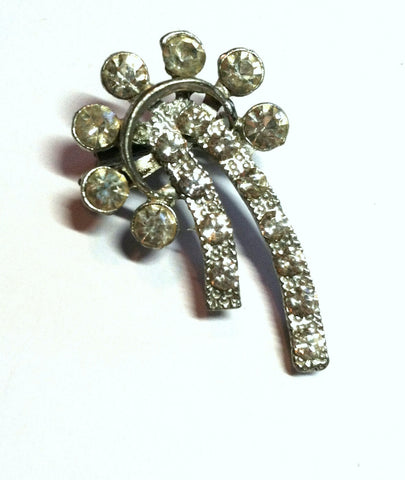 Atomic Comet Shaped Clear Rhinestone Brooch circa 1950s Dorothea's Closet Vintage Jewelry