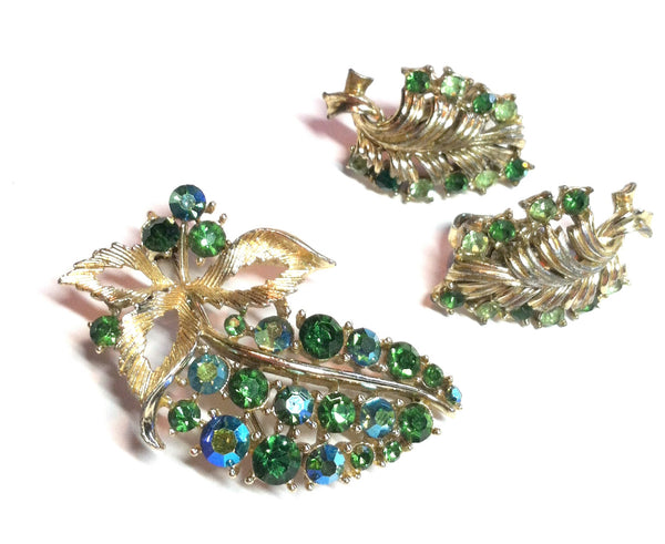 Aqua and Green Rhinestone Leaf Brooch and Clip Earrings circa 1960s Dorothea's Closet Vintage Jewelry