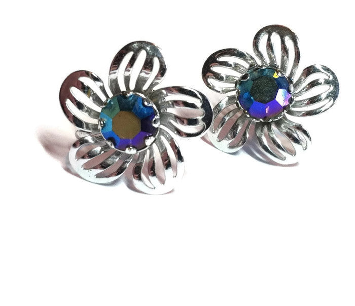 Blue Aurora Borealis Rhinestone Center Flower Clip Earrings circa 1960s