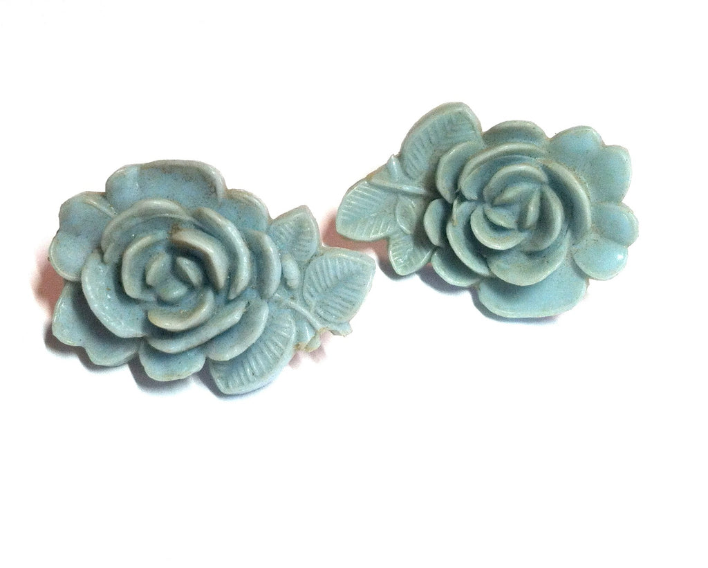 Delft Blue Sculpted Plastic Rose Screwback Clip Earrings circa 1950s Dorothea's Closet Vintage Jewelry