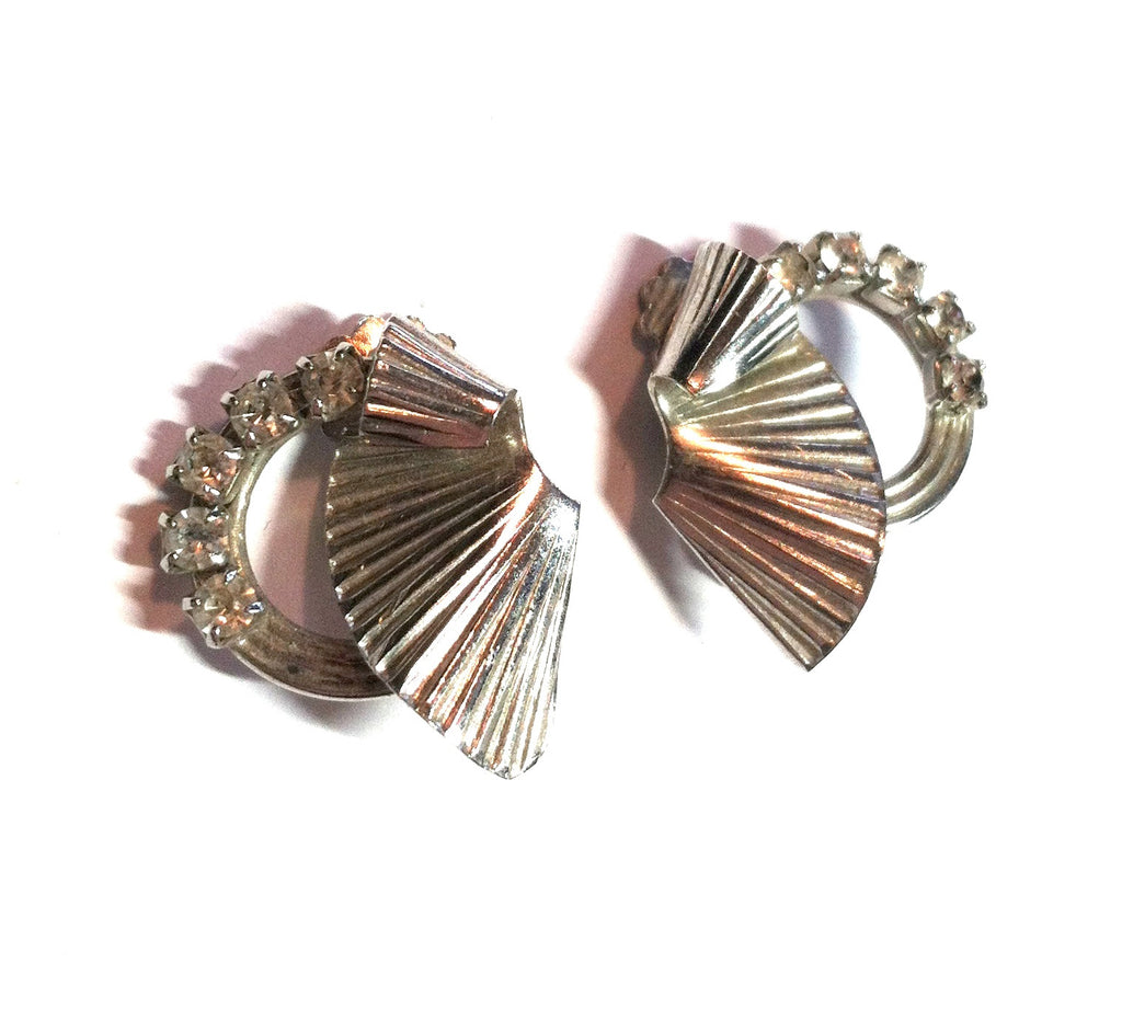 Swirling Fan Shaped Clip Earrings w/ Rhinestones circa 1940s Dorothea's Closet Vintage Jewelry