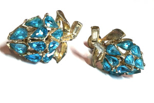 Bright Turquoise Blue Rhinestone Cluster Clip Earrings circa 1960s Dorothea's Closet Vintage Jewelry