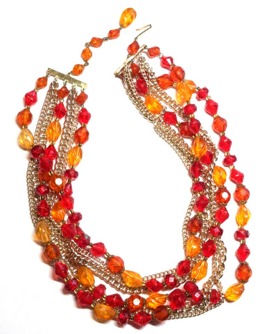 SALE Vivid Red and Orange Faceted Plastic Bead and Chain Multistrand Necklace circa 1960s