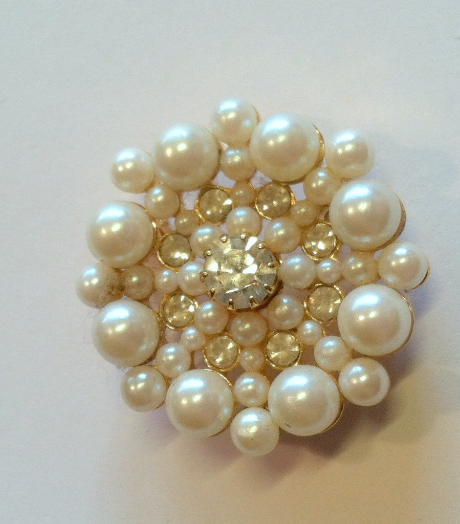 Faux Pearl and Rhinestone Round Brooch/Pendant Combo circa 1960s Dorothea's Closet Vintage Jewelry
