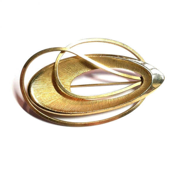 Linked Ovals Goldtone Metal Statement Brooch circa 1970s Dorothea's Closet Vintage Jewelry