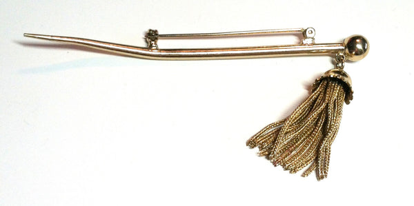 Tassel Tipped Goldtone Spear Brooch circa 1950s Dorothea's Closet Vintage Jewelry