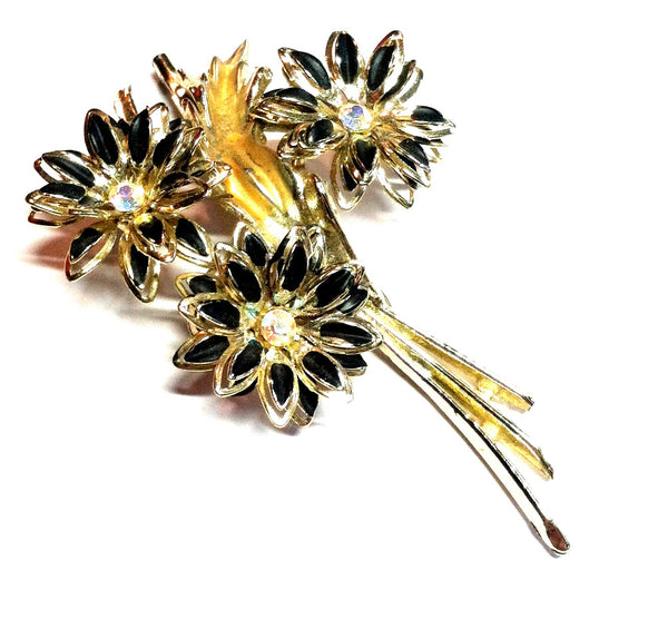 Black Petaled Gold Flower Bouquet Brooch w/ Rhinestones circa 1960s Dorothea's Closet Vintage Jewelry