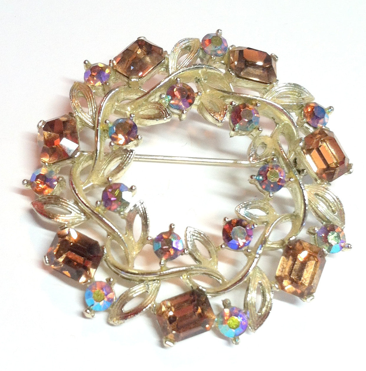 Wreath Shaped Brooch w/ Aurora Borealis Cystals circa 1960s Dorothea's Closet Vintage Jewelry