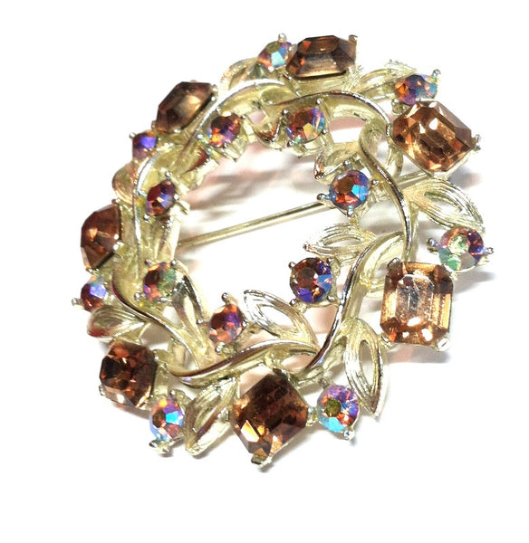 Wreath Shaped Brooch w/ Aurora Borealis Crystals circa 1960s