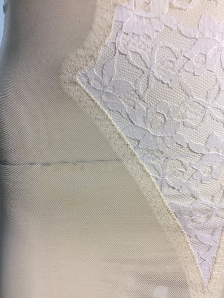 Darling Lace Trimmed Ivory and White Girdle circa 1950s