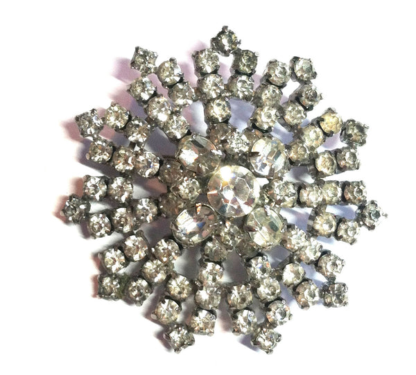 Huge Bright Clear Rhinestone Statement Brooch circa 1950s