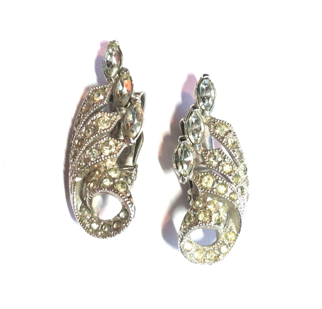 Graceful Curving Silver and Rhinestone Clip Earrings circa 1940s Dorothea's Closet Vintage Jewelry